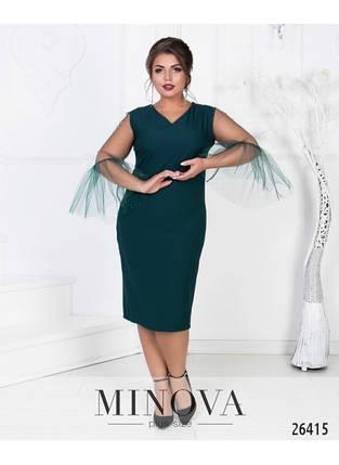 """Изумительное женское платье с V-образным вырезом ткань """"Костюмная"""" 50, 54, 56, 58 размер батал, фото 2"""