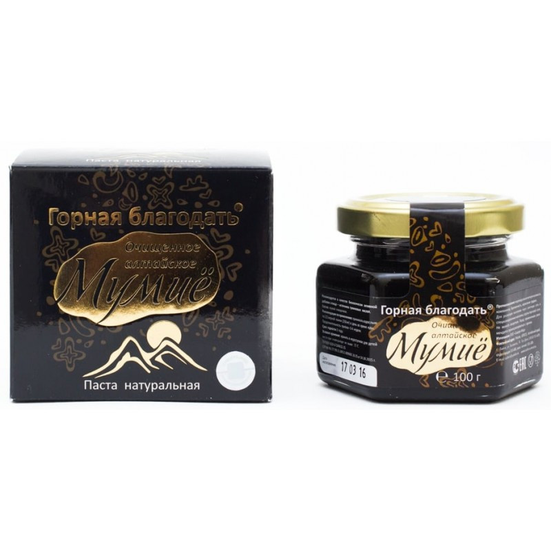 Мумие алтайское очищенное Горная благодать 100 г  Сашера мед стекло