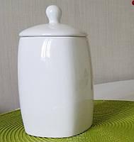 Ёмкость белая керамическая с крышкой 1л (2244-02)