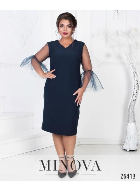 """Изумительное женское платье с V-образным вырезом ткань """"Костюмная"""" 50, 52, 54, 56, 58 размер батал"""