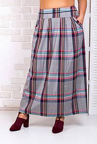 Женская клетчатая юбка 44-52 р