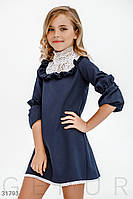 Школьное платье с кружевом 116-140 рост