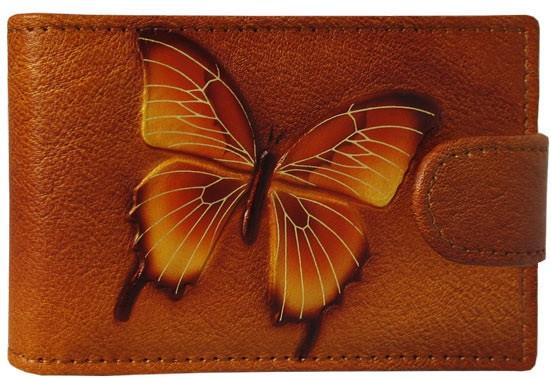 """Визитница карманная кожаная с ручной росписью на магнитной кнопке """"Баттерфляй"""""""