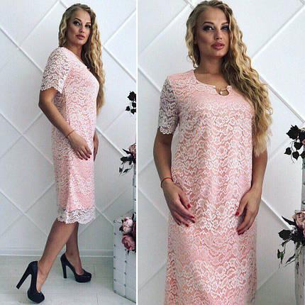 """Сногсшибательное женское платье """"гипюр на подкладке"""" 52 размер батал, фото 2"""