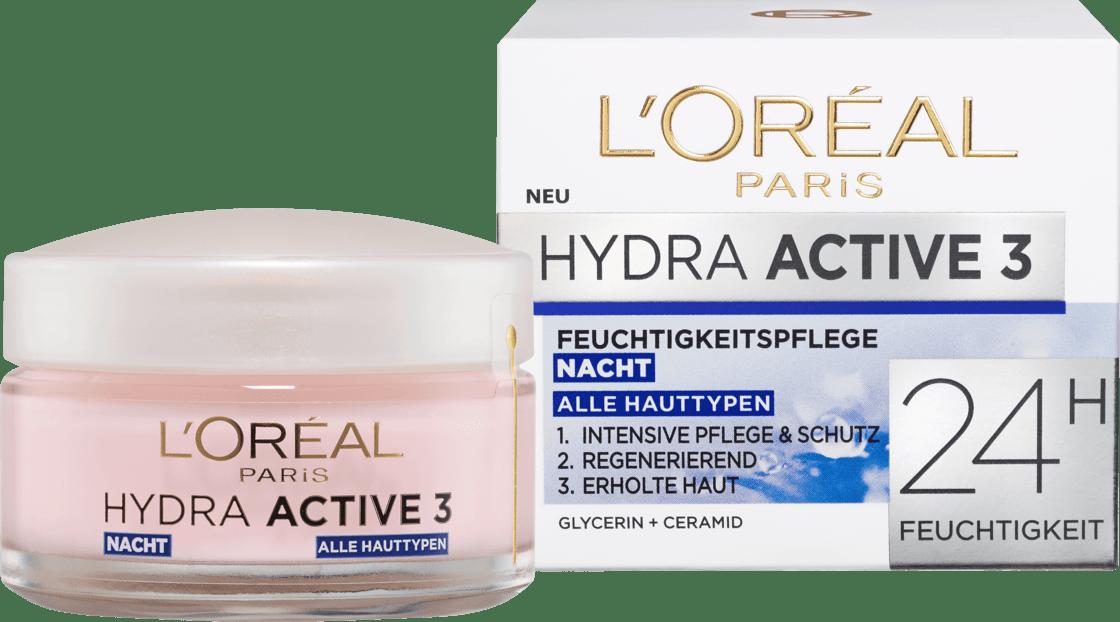 Ночной крем для сухой и чувствительной кожи L'ORÉAL PARIS Hydra Active 3, 50 мл.