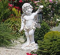 Садовая фигура скульптура для сада Ангел с фонарем + LED 81х38х26 см ССК12208 статуя