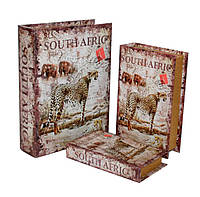 """Набор книга-шкатулка  """"Сафари"""" книга тайник в твердом переплете, набор 3 шт"""