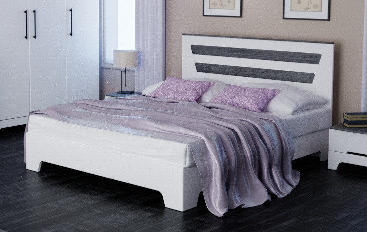 """Кровать """"Элен"""" 160х200 см Белый матовый + Дуб шато"""