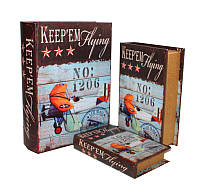 """Набор книга-шкатулка  """"Самолет"""" книга тайник в твердом переплете, набор 3 шт"""