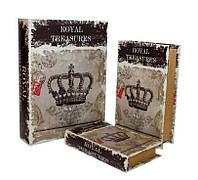 """Набор книга-шкатулка  """"Корона"""" книга тайник в твердом переплете, набор 3 шт"""