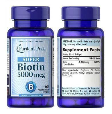 Биотин Biotin Puritan's Pride, 5000 мкг, 60 капсул, фото 2