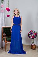 Женское синее платье в пол со стразами на боках
