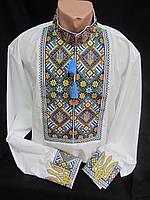 """Модная мужская вышиванка """"Тризуб"""" на льне, 37-54 р-ры, 590/520 (цена за 1 шт. + 70 гр.)"""