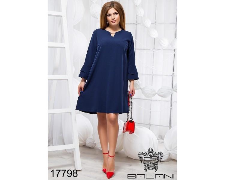 """Элегантное женское платье с рюшами и украшением ткань """"костюмная"""" размер 50, 52, 54 размер батал"""