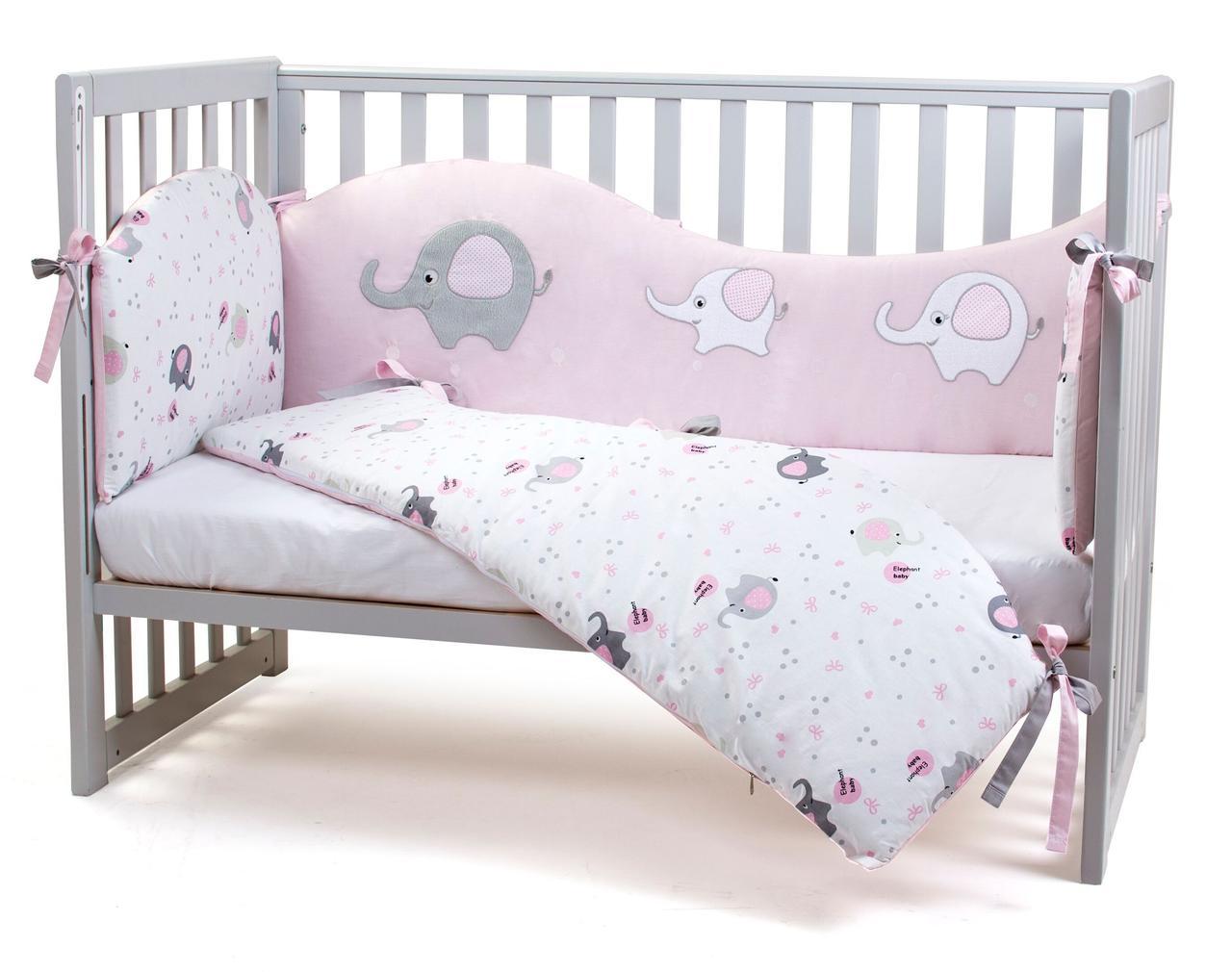 Защита в кроватку Veres Elephant family pink