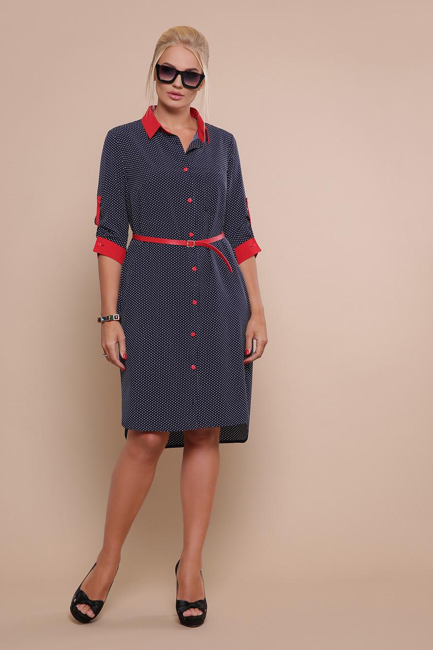 Женское летнее платье-рубашка синее в горох большой размер повседневное