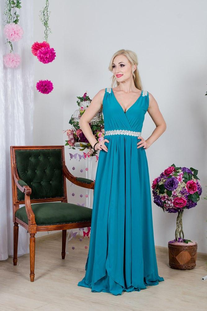 Женское платье в пол с короткими рукавами