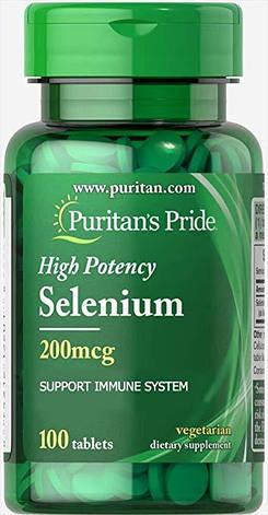 Селен Puritan's Pride Selenium 200 mcg 100 капс, фото 2
