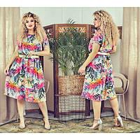 "Летнее легкое цветочное платье ""Креп-шифон"" 60, 62 размеры батал"