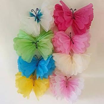 Бумажные бабочки из тишью разные размеры и цвета