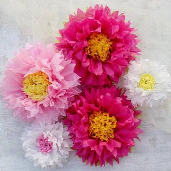Цветы из бумаги тишью разные размеры и цвета