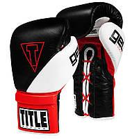 Боксерские перчатки TITLE GEL E-Series Lace Training Gloves Черные с белым и красным