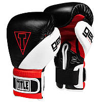 Боксерские перчатки TITLE GEL E-Series Training/Sparring Gloves Черные с белым и красным