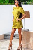 Модное короткое женское платье приталенное рукав фонарик жаккард, фото 1