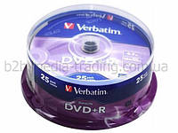 Диски verbatim dvd+r 4,7gb 16x data life tape cake 25 штук (43831)