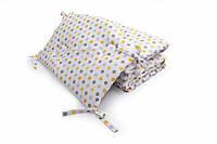 Бампер для детской кроватки Twins Premium стеганый Горошки желтые
