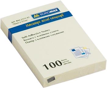 Блок стикеров Buromax 51х75 мм, 100 л., желтый