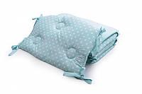 Бампер для детской кроватки Twins Premium стеганый Горошки мятные