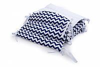 Бампер для детской кроватки Twins Premium стеганый P-064 Зигзаг синий