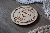 Свадебный магнит из дерева Пригласительные на свадьбу Деревянное пригласительное
