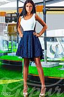 Нарядное женское платье комбинированное до колен верх белый дайвинг юбка синяя жаккард, фото 1