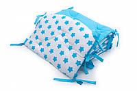 Бампер для детской кроватки Twins Premium стеганый Звездочка голубая