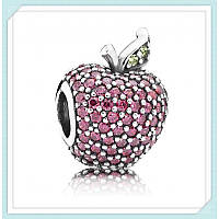 Шарм-паве красное яблоко из серебра 925 пробы пандора (pandora)