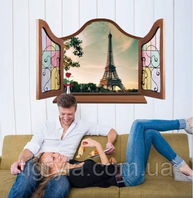 Декоративная наклейка на стену - окно на Эйфелеву Башню
