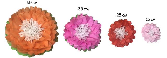 варианты размеров цветка из тишью