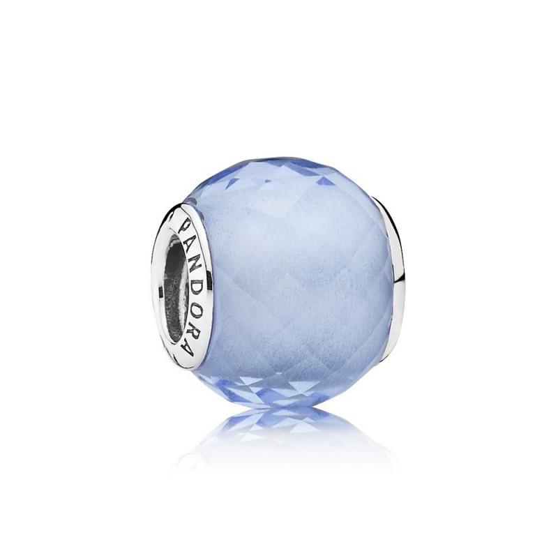 Голубой ограненный шарм из серебра 925 пробы  в стиле Pandora