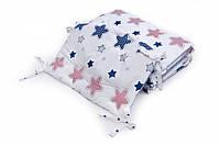 Бампер для детской кроватки Twins Premium стеганый Звездочка сине-красная