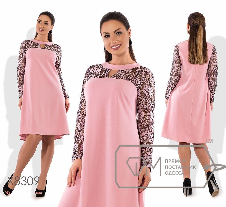 """Стильное женское платье трапеция """"ткань креп-дайвинг + гипюр""""  50 размер батал"""