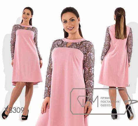 """Стильное женское платье трапеция """"ткань креп-дайвинг + гипюр""""  50 размер батал, фото 2"""