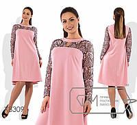 """Стильное женское платье трапеция """"ткань креп-дайвинг + гипюр""""  50, 52, 56 размер батал"""
