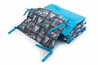 Бампер для детской кроватки Twins Premium стеганый Сердечки декор голубой