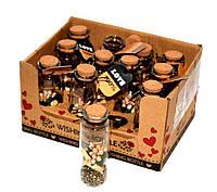 Пляшечка побажань 12 шт Wishing bottle «Послання в пляшці», золотий бісер і квіти