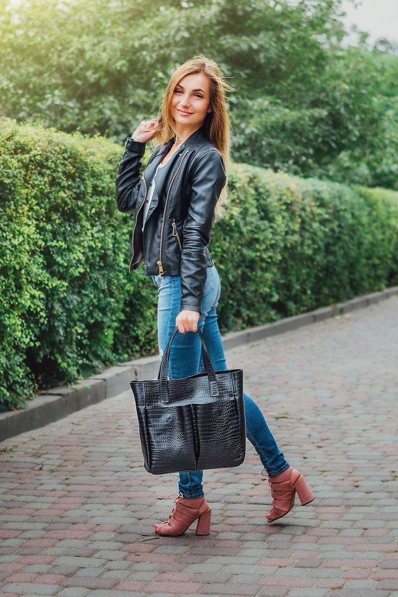 Женская сумка кожаная 02 черный кайман