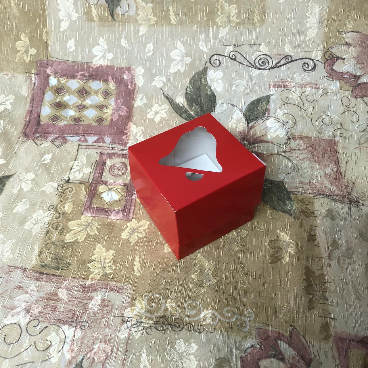 Коробка для 1-ого кекса / 100х100х90 мм / печать-Красн / окно-Колокол / НГ