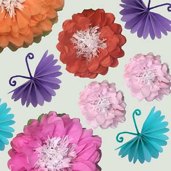 Бумажные цветы и бабочки из тишью