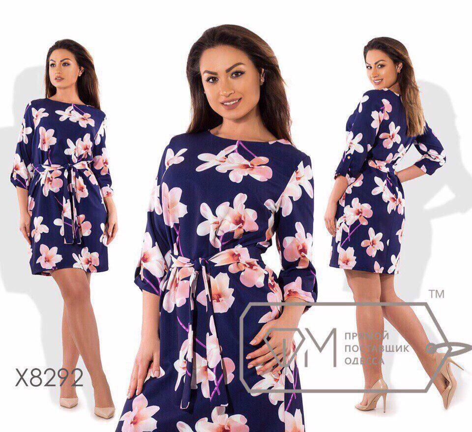 Стильное эластичное женское платье ткань трикотаж масло 48, 54 размер батал